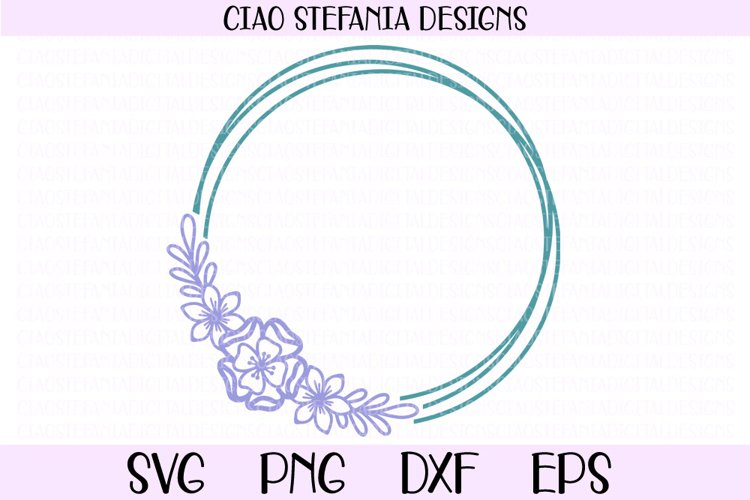Flowers Geometric Circle Frame Wedding SVG Cut File example image 1