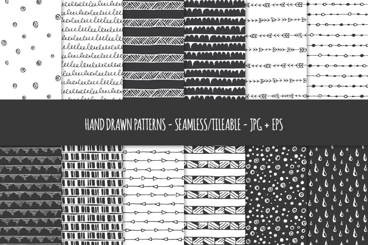 24 Hand Drawn Seamless Patterns. Abstract Vector Doodles. 01 example image 1