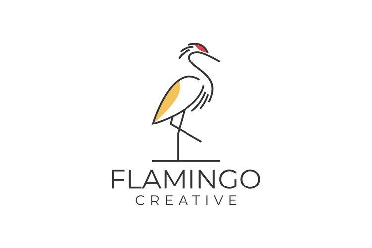 Monoline Flamingo Creative Simple Logo example image 1
