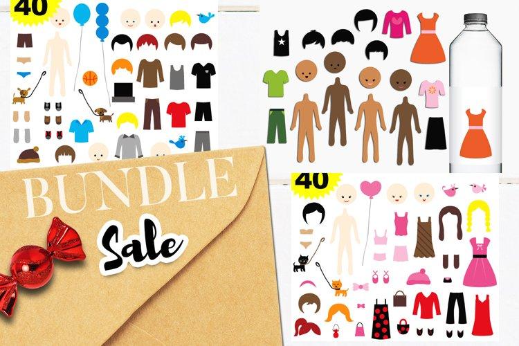 DIY paper dolls clip art illustrations bundle example image 1