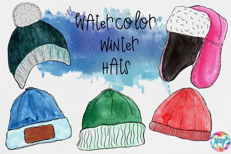 Watercolor Winter Hat Illustrations example image 1