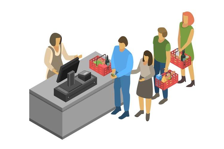 Cashier concept background, isometric style example image 1
