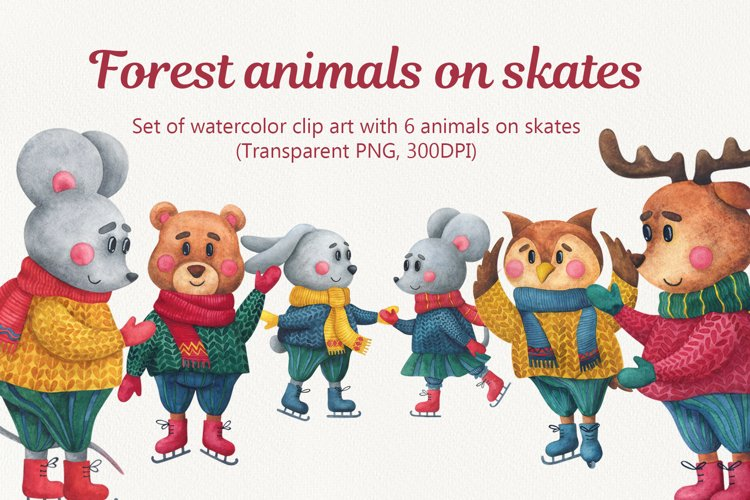 Forest animals on skates. Christmas watercolor clipart