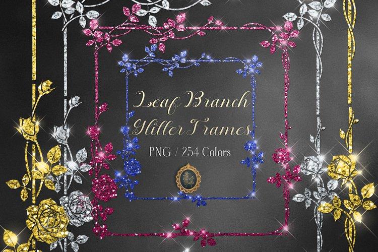 254 Glitter Leaf Branch Border Frame Clip Art Bridal Shower example image 1