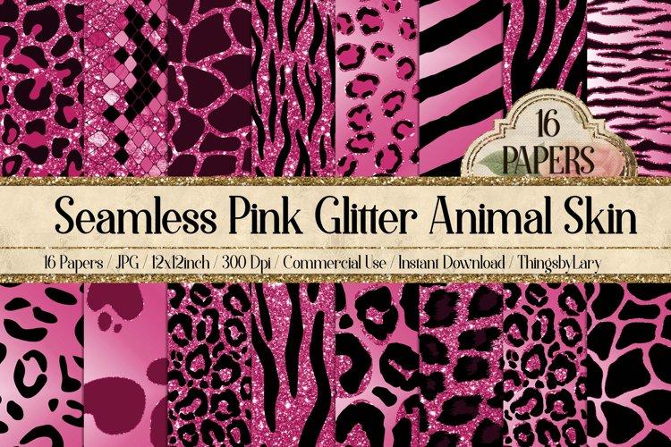 16 Seamless Pink Glitter Animal Skin Prints Digital Papers
