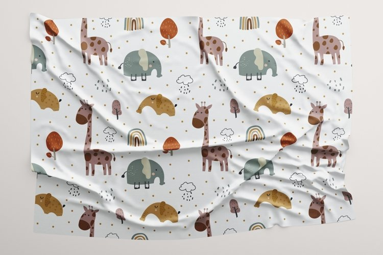 Baby seamless pattern with elephant and giraffe example image 1