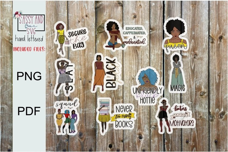 10 Black Women Magic Digital Stickers l Planner l Planning