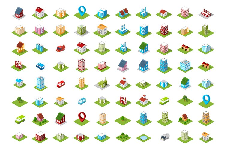 Set of isometric urban icons example image 1