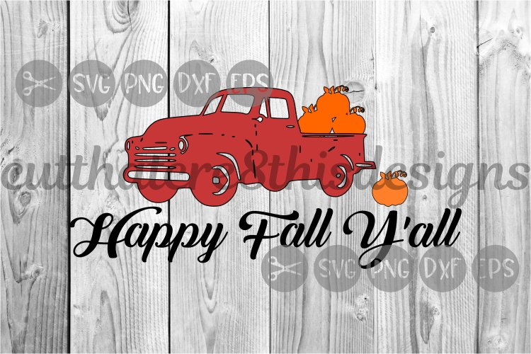 Happy Fall Y'all, Truck, Autumn, Seasons, Cut File, SVG. example image 1