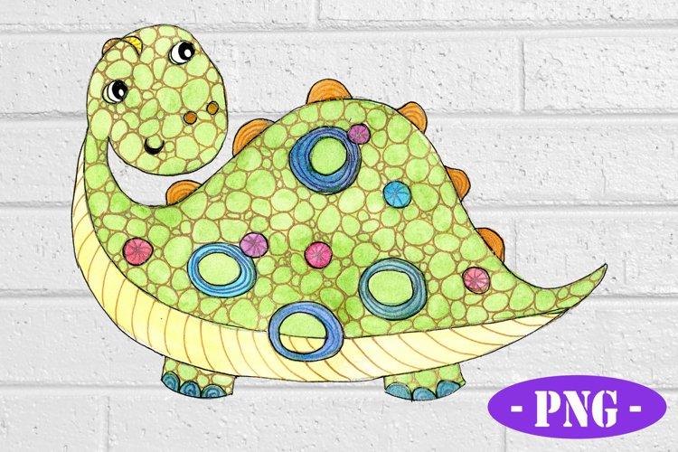 Cute Green Dinosaur PNG | Kids Shirt Design | Hand Drawn