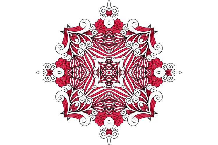Ornate red symmetrical pattern over white example image 1