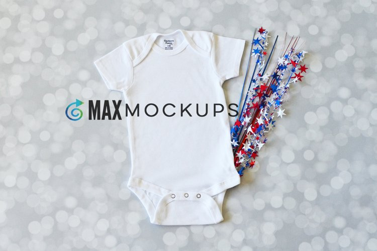 Baby Bodysuit Mockup, July 4th Independence Day Flatlay