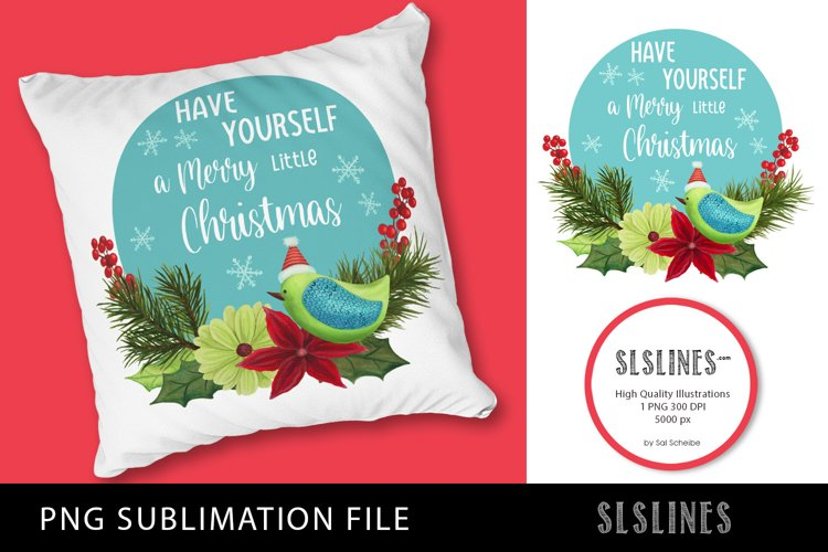 Merry Christmas Bird PNG sublimation example image 1