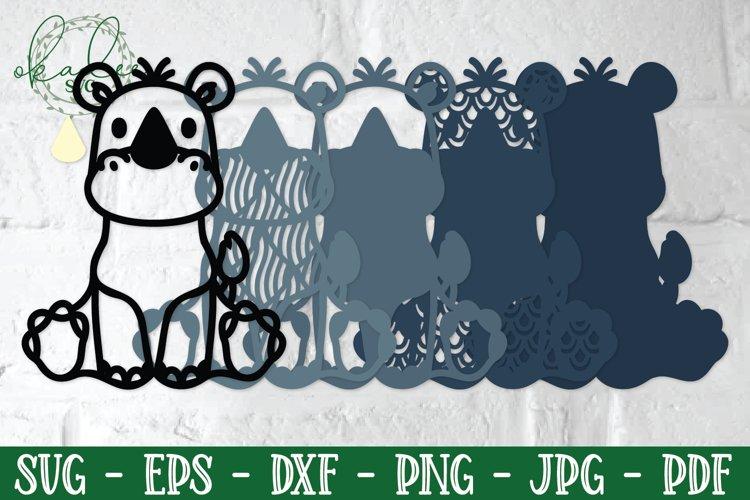 3D Jungle Animal SVG, Papercut Koala, Rhino SVG, Layered SVG example 2