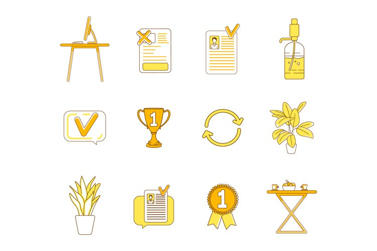 Office items yellow linear objects set example image 1