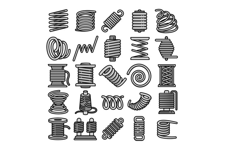 Coil icons set, outline style example image 1