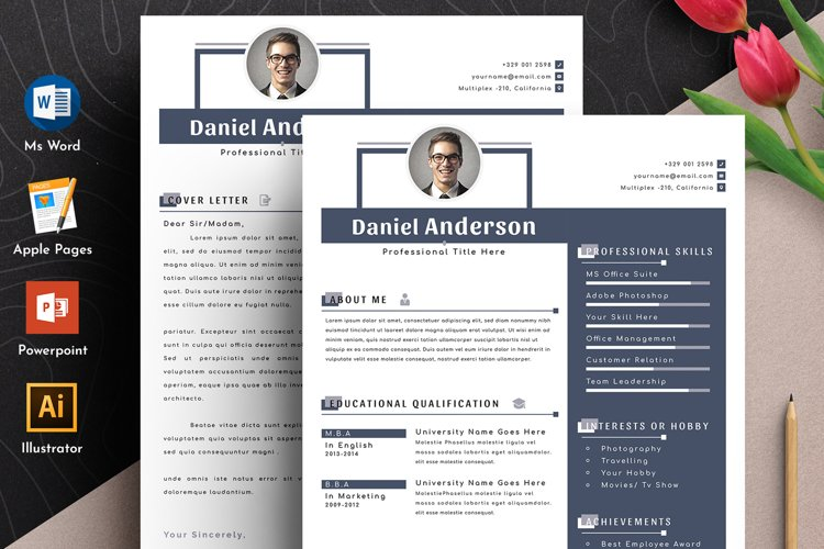 Resume Cv Template With Editable Word Apple Pages Format