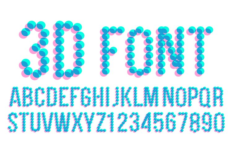 3D Pixel Font Vector. Futuristic Alphabet. Abc. Anaglyphic