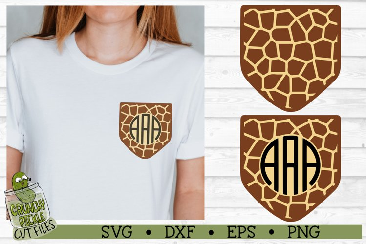 Pickle Pockets - Monogram Pocket Giraffe Print SVG Cut File