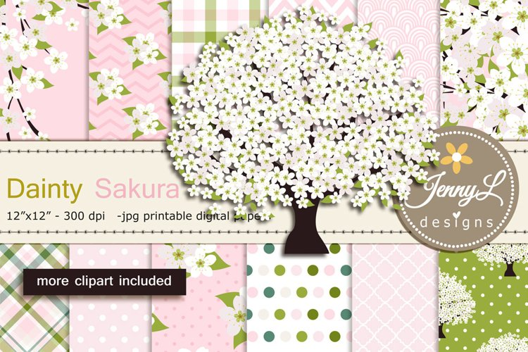 White Cherry Blossoms Digital Papers and Sakura Clipart example image 1