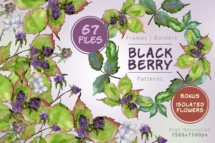 Sweetly blackberry JPG watercolor set  example image 1