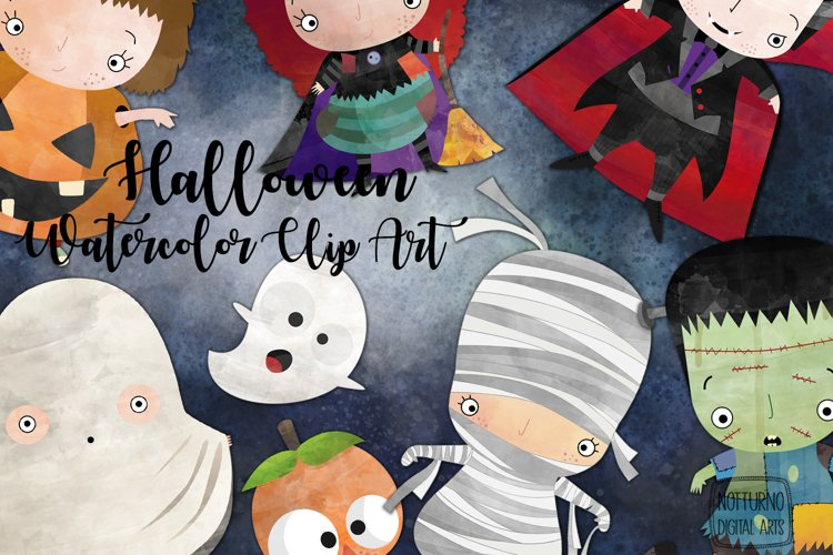 Watercolor Halloween clipart. Clipart digital party costume. example image 1