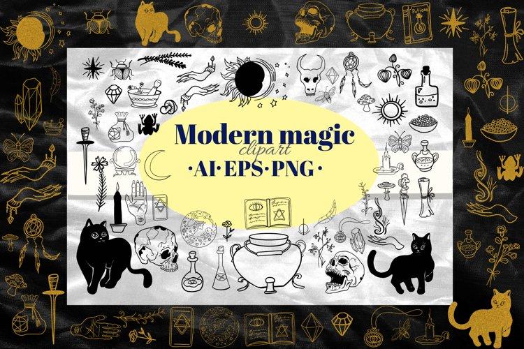 Magic, Occult, Witchcraft, Spiritual clipart set. Outline.