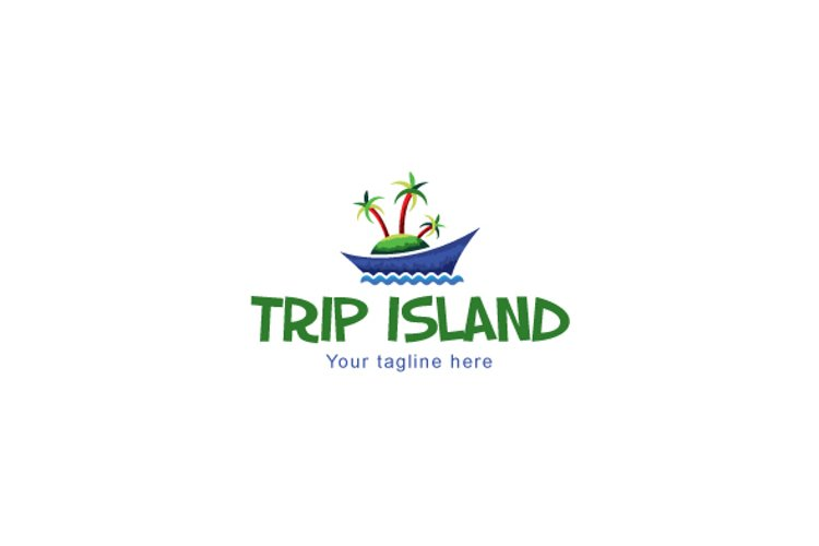 Trip Island -Vacations on Beach Stock Logo Template for Tour example image 1