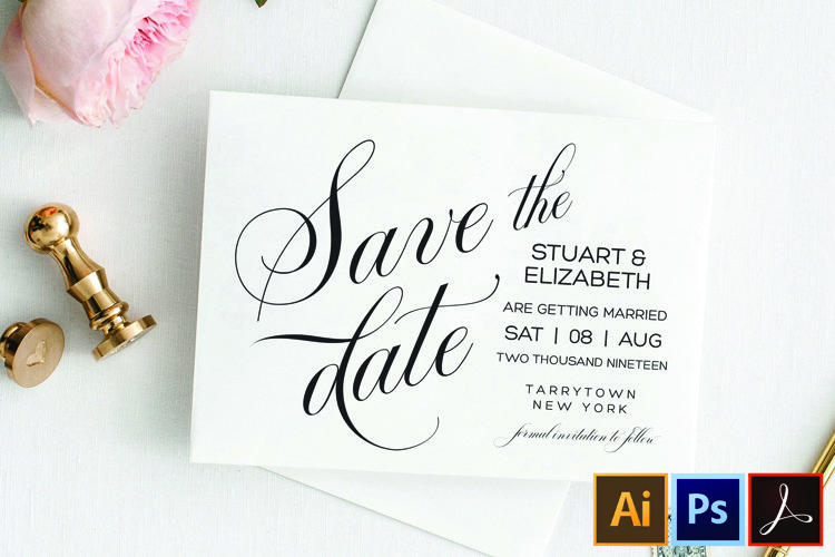 Save the Date Template, Printable Wedding Date Postcard example image 1