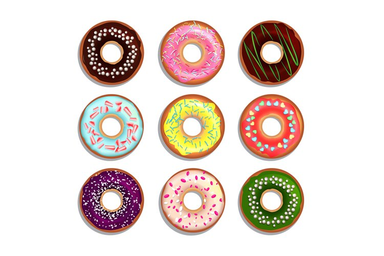 Different donuts in cartoon style. Vector illustrations isol example image 1
