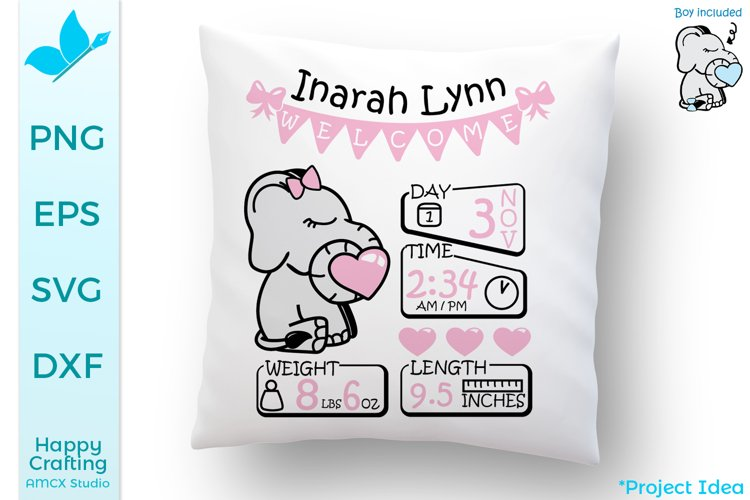 Baby Elephant SVG Files - A cute baby announcement
