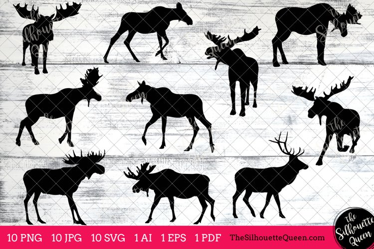 Moose Silhouette Clipart Clip Art(AI, EPS, SVGs, JPGs, PNGs, PDF), Moose  Clip Art Clipart Vectors - Commercial   Personal Use