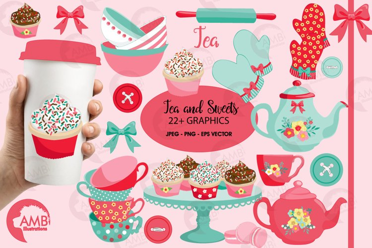 Tea and sweets clipart, graphics and illustrations AMB-1972