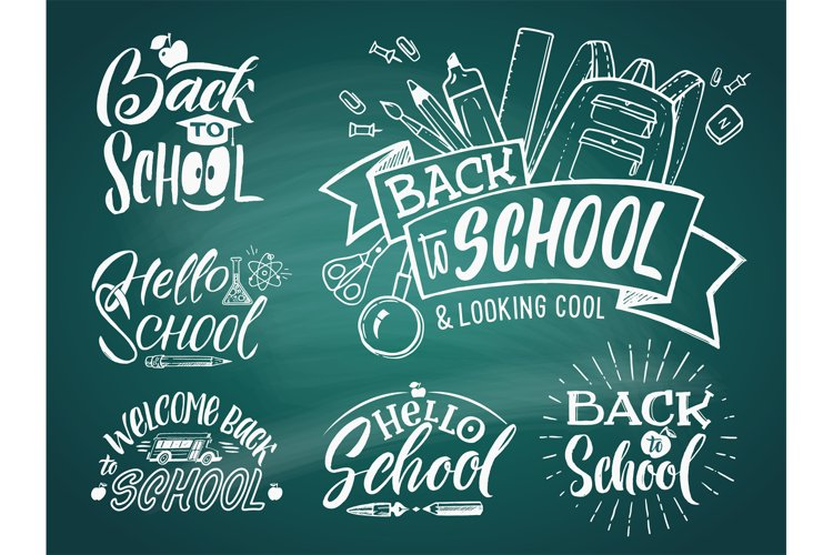 Vintage emblem set for school and university. Welcome to sch example image 1