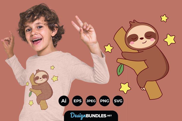 Cute Sloth Bear Cartoon Sleep on Tree for T-Shirt Design