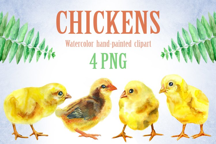 Watercolor yellow chickens example image 1