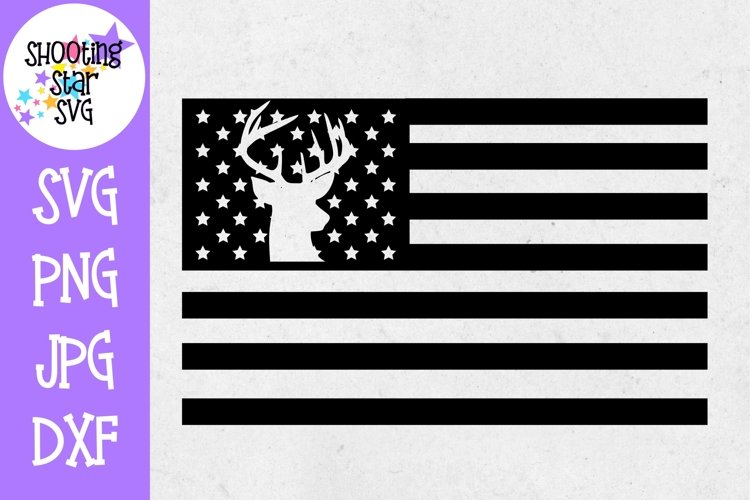 American Flag with Deer Silhouette - Fourth of July SVG