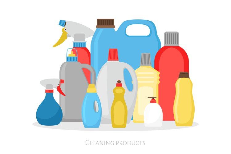 Cleaning products bottles. Isolated plastic packing set, det