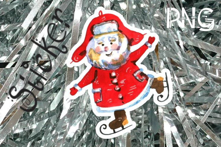 Santa claus Sticker, single, cute grandpa, PNG file example image 1