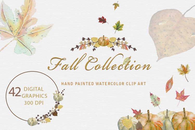 Fall Watercolor Clipart Collection, Autumn Digital Graphics