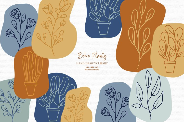 Hand-drawn boho clipart   Bohemian plants and flower clipart example image 1