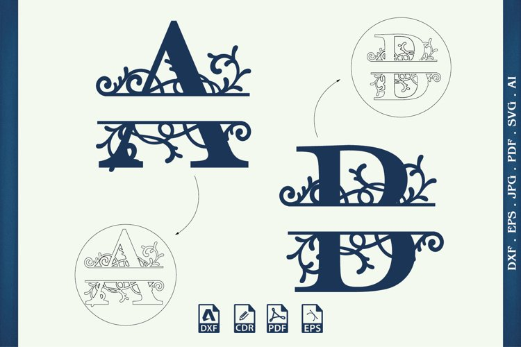 Split Monogram Letters Svg, Dxf, Cdr, Eps,Cut Files example image 1