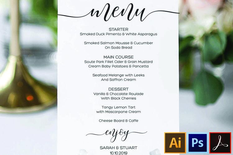 Wedding Menu Card Editable Template Printable Menu Cards example image 1