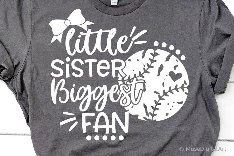 Baseball Sister Svg, Little Sister Biggest Fan Baseball Svg example image 1