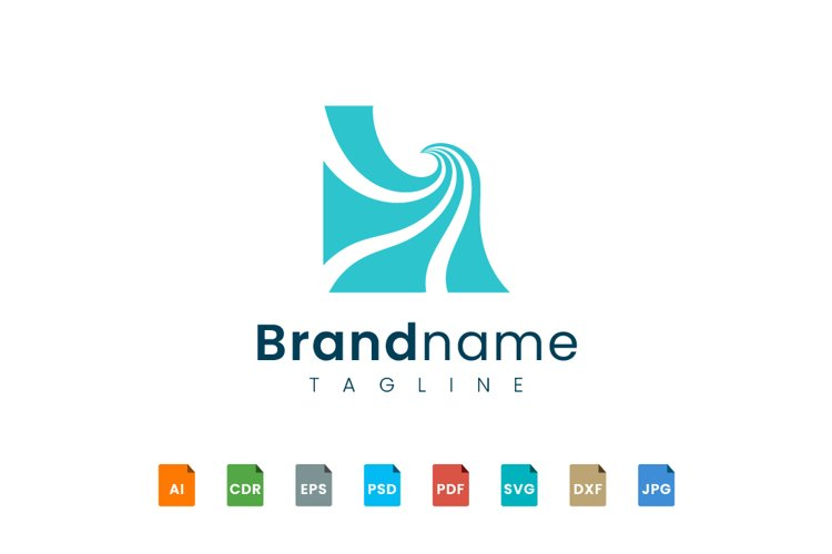 Sea wave logo design with a box on the outside example image 1