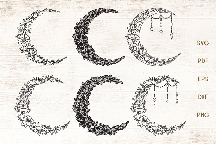 Floral Crescent Moon - SVG - Vector example image 1