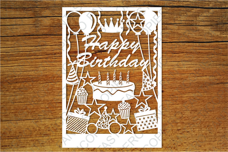 Happy Birthday card SVG files for Silhouette and Cricut.