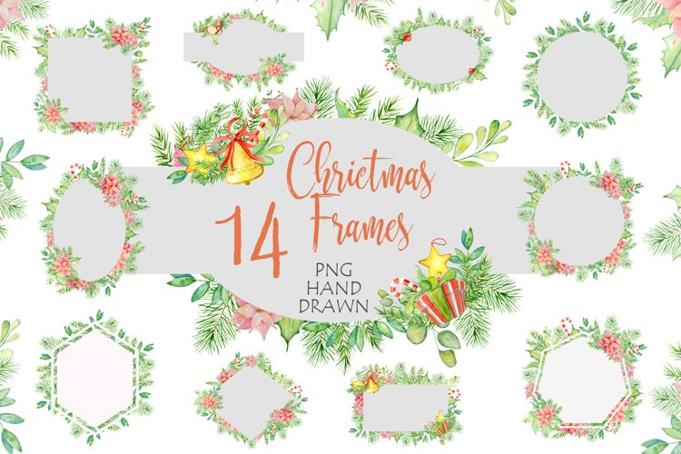 Christmas watercolor frames and arrangements example image 1