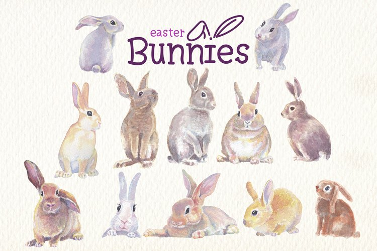 Easter bunnies watercolor clipart collection