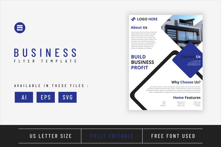 Real estate flyer template with indigo geometry shapes desig example image 1